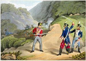'A British soldier Taking Two French Officers at the Battle of the Pyrenees', 1813 (1816) by Matthew Dubourg