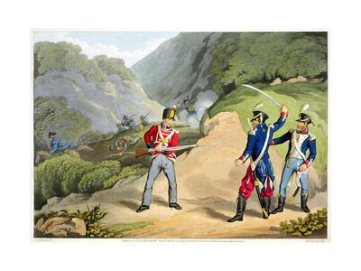 'A British soldier Taking Two French Officers at the Battle of the Pyrenees', 1813 (1816)