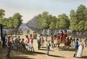 'Encampment of the British army in the Bois de Boulogne', Paris, 1815 (1817) by Matthew Dubourg