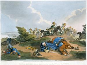 'Prince Blucher under his Horse at the Battle of Waterloo', 1815 by Matthew Dubourg