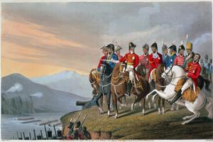 'The Duke of Wellington and his Staff Crossing the Bidassoa and Entering France', 1813 (1816) by Matthew Dubourg