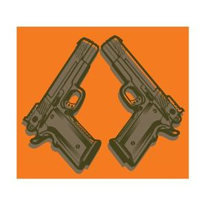 Two Handguns on Orange by Matthew Laznicka