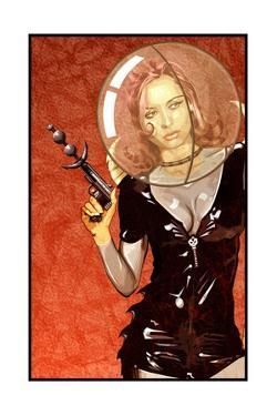 Woman with Gun and Bubble by Matthew Laznicka