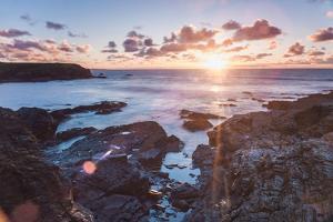 Rocky Coast at Treyarnon Bay at Sunset, Cornwall, England, United Kingdom, Europe by Matthew