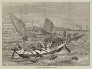 The Voyage to China, Ceylon Boats at Galle by Matthew White Ridley