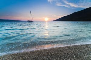 Adriatic Sea Off Zlatni Rat Beach at Sunset, Bol, Brac Island, Dalmatian Coast, Croatia, Europe by Matthew Williams-Ellis