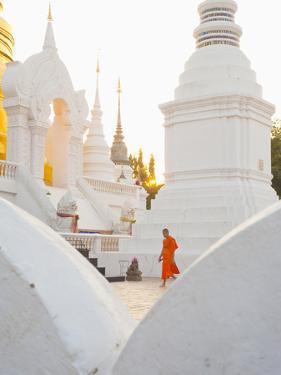 Buddhist Monk Walking around Wat Suan Dok Temple in Chiang Mai, Thailand, Southeast Asia, Asia by Matthew Williams-Ellis