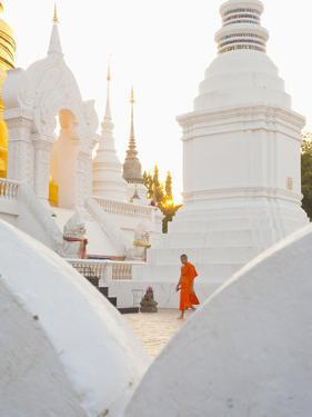 Buddhist Monk Walking around Wat Suan Dok Temple in Chiang Mai, Thailand, Southeast Asia, Asia by Matthew Williams-Ellis