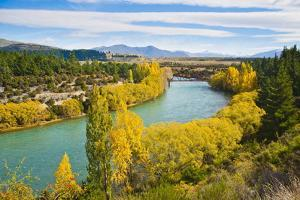 Caravan Crossing a Bridge on the Clutha River in Autumn, Wanaka, South Island, New Zealand, Pacific by Matthew Williams-Ellis