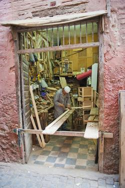 Carpenter in His Workshop in the Souk of Marrakech, Morocco, North Africa, Africa by Matthew Williams-Ellis