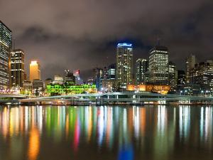 Central Business District City Skyline at Night Taken from Southbank of Brisbane, Australia by Matthew Williams-Ellis
