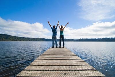 Couple on a Jetty at Lake Ianthe, West Coast, South Island, New Zealand, Pacific