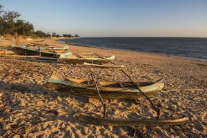 Dugout Canoes Used as Fishing Boats on Ifaty Beach at Sunset, South West Madagascar, Africa by Matthew Williams-Ellis