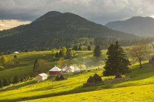 Farm and Haystacks in the Rural Transylvania Landscape at Sunset, Piatra Fantanele, Transylvania by Matthew Williams-Ellis