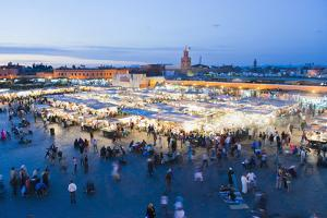 Food Stalls in Place Djemaa El Fna at Night, Marrakech, Morocco, North Africa, Africa by Matthew Williams-Ellis
