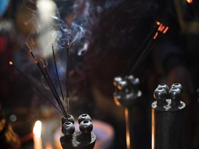 Incense burning at a Hindu temple in New Delhi, India, Asia by Matthew Williams-Ellis