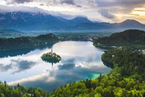Lake Bled Island and the Julian Alps at Sunrise by Matthew Williams-Ellis