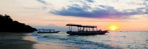 Mount Agung on Bali and Fishing Boats Silhouetted Against Sunset, Gili Trawangan, Indonesia by Matthew Williams-Ellis