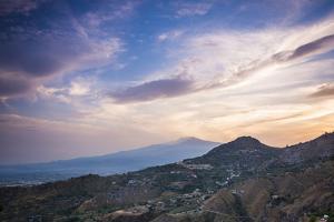 Mount Etna Volcano at Sunset, UNESCO World Heritage Site, Taormina, Sicily, Italy, Europe by Matthew Williams-Ellis