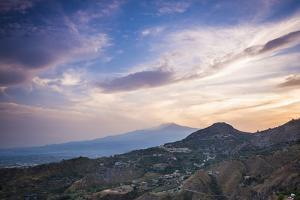 Mount Etna Volcano at Sunset, UNESCO World Heritage Site, Taormina, Sicily, Italy, Europe by Matthew Williams-Ellis