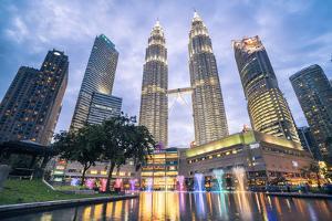 Petronas Twin Towers light display at night, Kuala Lumpur, Malaysia, Southeast Asia, Asia by Matthew Williams-Ellis