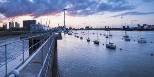 River Thames at Sunset and the Emirates Air Line Cable Car, East London, England by Matthew Williams-Ellis