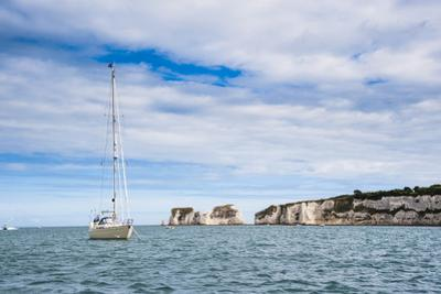 Sailing Boat at Old Harry Rocks, Between Swanage and Purbeck, Dorset, Jurassic Coast, England by Matthew Williams-Ellis