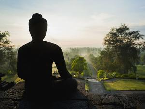 Stone Buddha Silhouetted at Sunrise, Borobudur Temple, UNESCO World Heritage Site, Java, Indonesia by Matthew Williams-Ellis