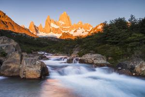 Sunrise Mount Fitz Roy (Cerro Chalten) and Waterfall on Lago De Los Tres Hike, Patagonia, Argentina by Matthew Williams-Ellis