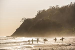 Surfers surfing on a beach at sunset, Nosara, Guanacaste Province, Pacific Coast, Costa Rica by Matthew Williams-Ellis