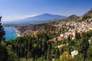 Taormina and Mount Etna Volcano Seen from Teatro Greco (Greek Theatre) by Matthew Williams-Ellis