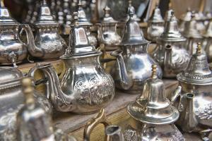 Traditional Metal Moroccan Mint Tea Pots for Sale in the Souks in the Old Medina by Matthew Williams-Ellis