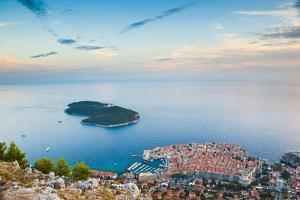 View over Dubrovnik, Lokum Island and Adriatic Sea, Dubrovnik, Dalmatian Coast, Croatia, Europe by Matthew Williams-Ellis