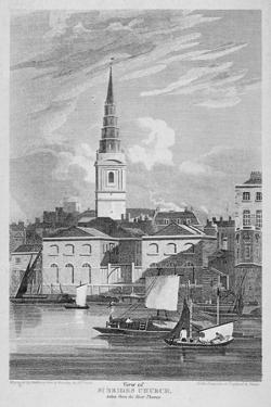 St Bride's Church, Fleet Street, City of London, 1815 by Matthews