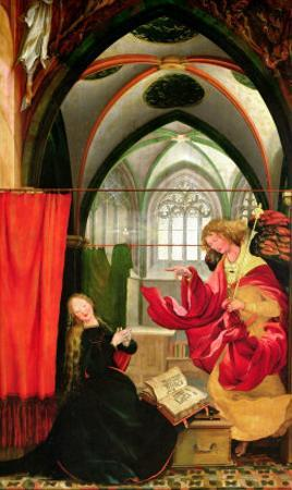 The Annunciation from the Isenheim Altarpiece, Left Hand Wing, circa 1512-16 by Matthias Grünewald