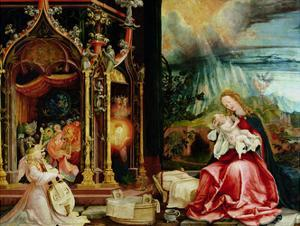The Isenheim Altarpiece, Central Panel: Concert of Angels and Nativity, 1506-1515 by Matthias Grünewald