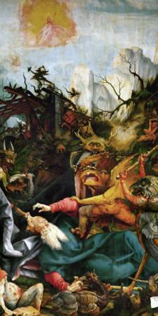 The Temptation of Saint Anthony- a Panel from the Isenheim Altar by Matthias Grünewald
