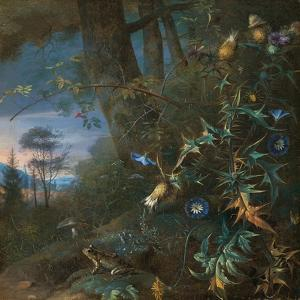 Forest Floor Still Life with a Frog and a Mushroom, Mountains Beyond by Matthias Withoos