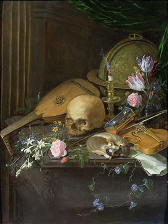Vanitas Still Life with a Nautilus and a Lute