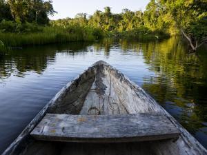 Front of a Dugout Canoe in Calm Water in Peru's Rain Forest by Mattias Klum