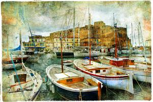 Artistic Picture In Painting Style - Boats In Naples Port In Front Of Castle Uovo by Maugli-l