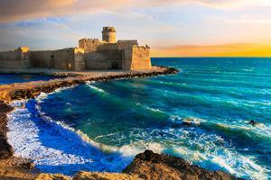 Beautiful Impressive Medeival Aragonese Castle over Sunset by Maugli-l