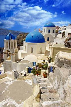 Beautiful White-Blue Santorini by Maugli-l