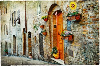 Charming Old Streets of Medieval Towns of Tuscany. Artistic Picture by Maugli-l