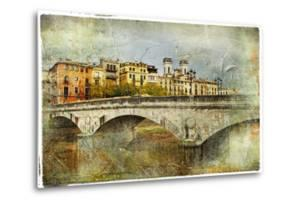 Girona, View With Bridge - Artistic Picture In Painting Style by Maugli-l