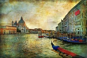 Grand Canal with Gondolas - Artistic Retro Styled Picture by Maugli-l