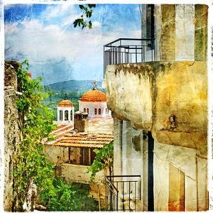 Greek Streets And Monasteries-Artwork In Painting Style by Maugli-l