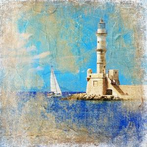 Light House With Yacht- Artistic Painting Style Picture by Maugli-l