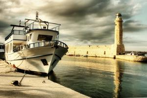 Lighthouse and Boat in Old Port of Rethimno- Artistic Toned Picture by Maugli-l