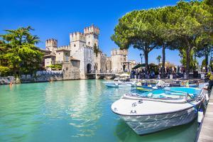 Medieval Castle Scaliger in Old Town Sirmione on Lake Lago Di Ga by Maugli-l